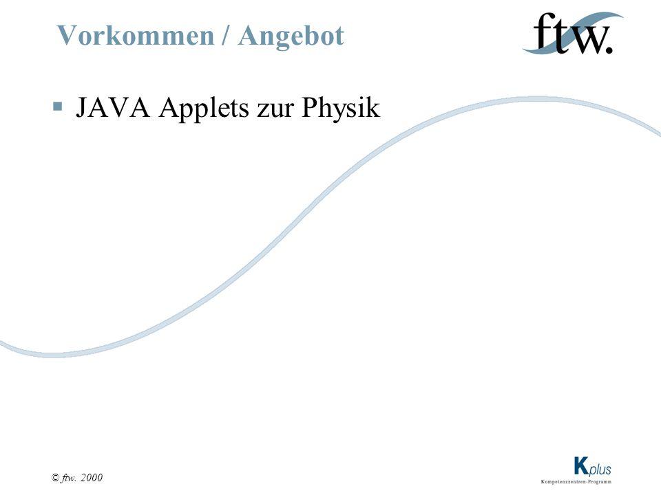 © ftw. 2000 Vorkommen / Angebot  JAVA Applets zur Physik