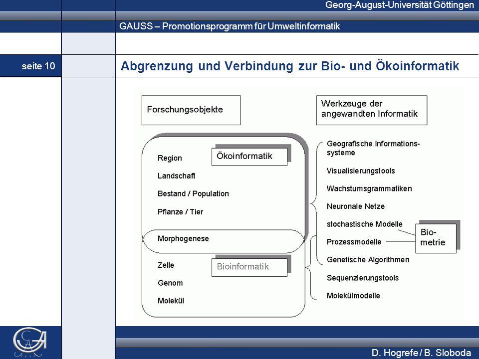 GAUSS – Promotionsprogramm für Umweltinformatik Georg-August-Universität Göttingen seite 10 D.