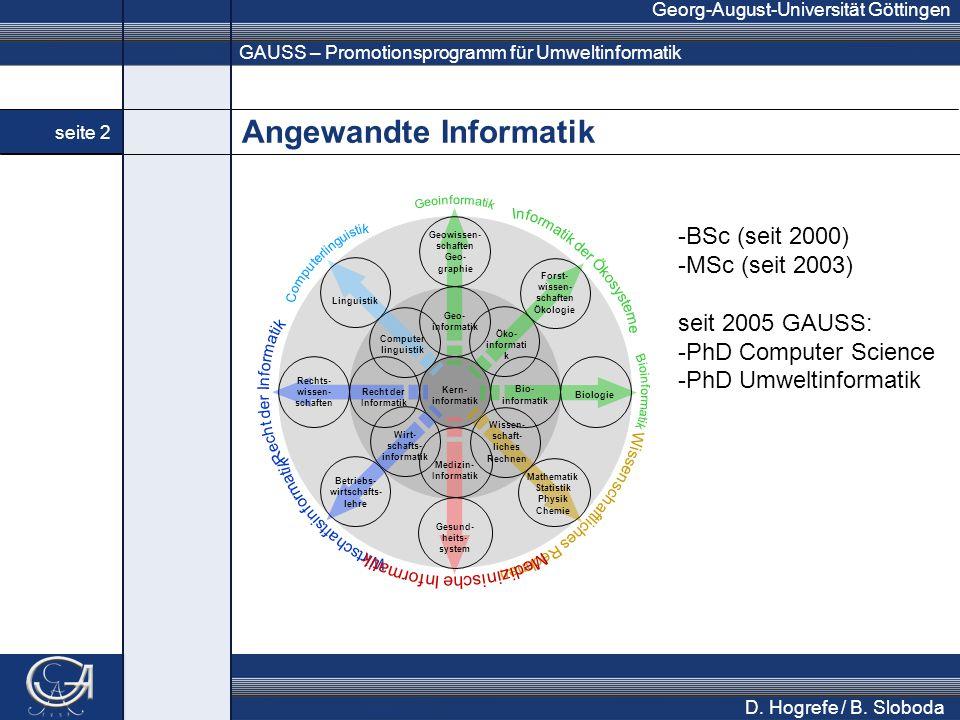 GAUSS – Promotionsprogramm für Umweltinformatik Georg-August-Universität Göttingen seite 2 D.