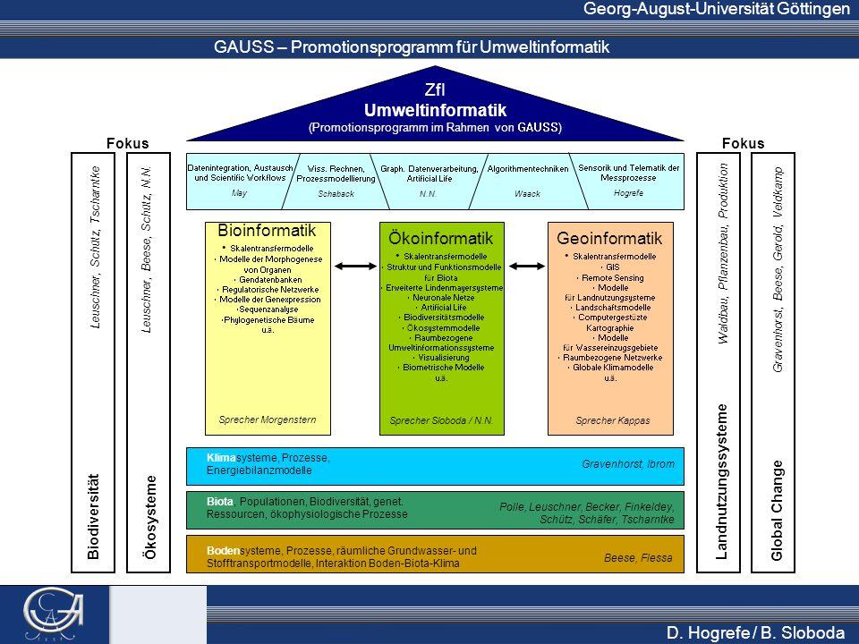 GAUSS – Promotionsprogramm für Umweltinformatik Georg-August-Universität Göttingen D. Hogrefe / B. Sloboda ZfI Umweltinformatik (Promotionsprogramm im