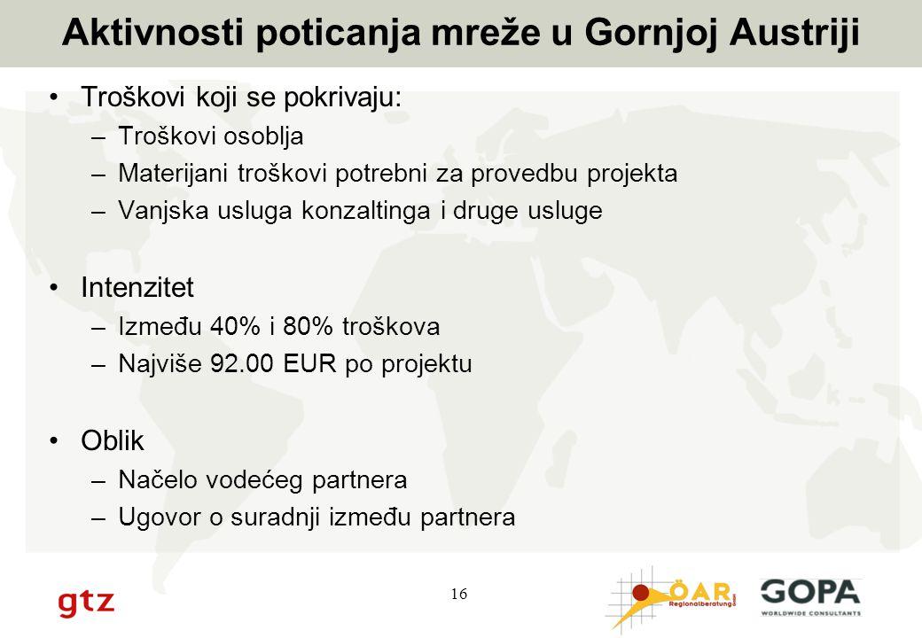 16 Aktivnosti poticanja mreže u Gornjoj Austriji Troškovi koji se pokrivaju: –Troškovi osoblja –Materijani troškovi potrebni za provedbu projekta –Van