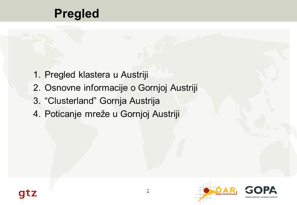 """2 Pregled 1.Pregled klastera u Austriji 2.Osnovne informacije o Gornjoj Austriji 3.""""Clusterland"""" Gornja Austrija 4.Poticanje mreže u Gornjoj Austriji"""