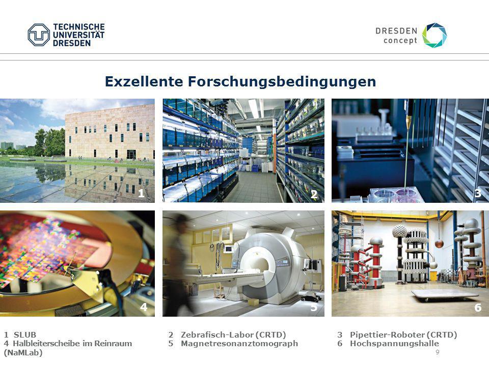 9 Exzellente Forschungsbedingungen 1 SLUB 4 Halbleiterscheibe im Reinraum (NaMLab) 2 Zebrafisch-Labor (CRTD) 5 Magnetresonanztomograph 3 Pipettier-Roboter (CRTD) 6 Hochspannungshalle 1 2 3 45 6