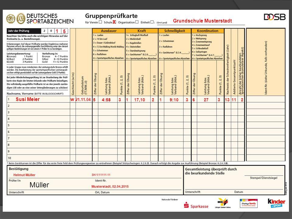 5 Susi Meier 1 5 X Grundschule Musterstadt w 21.11.04 4:583233111329:10117,101276 SH/1/11111-11 Musterstadt, 02.04.2015 Helmut Müller Müller
