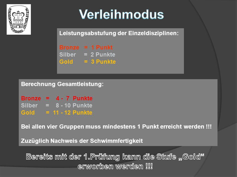 Leistungsabstufung der Einzeldisziplinen: Bronze = 1 Punkt Silber = 2 Punkte Gold = 3 Punkte Berechnung Gesamtleistung: Bronze = 4 - 7 Punkte Silber =