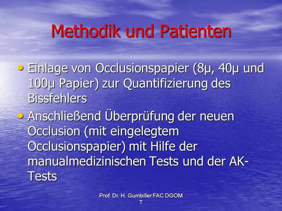 Prof. Dr. H. Gumbiller FAC DGOM T Methodik und Patienten Einlage von Occlusionspapier (8µ, 40µ und 100µ Papier) zur Quantifizierung des Bissfehlers Ei