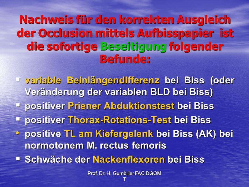 Prof. Dr. H. Gumbiller FAC DGOM T Nachweis für den korrekten Ausgleich der Occlusion mittels Aufbisspapier ist die sofortige Beseitigung folgender Bef