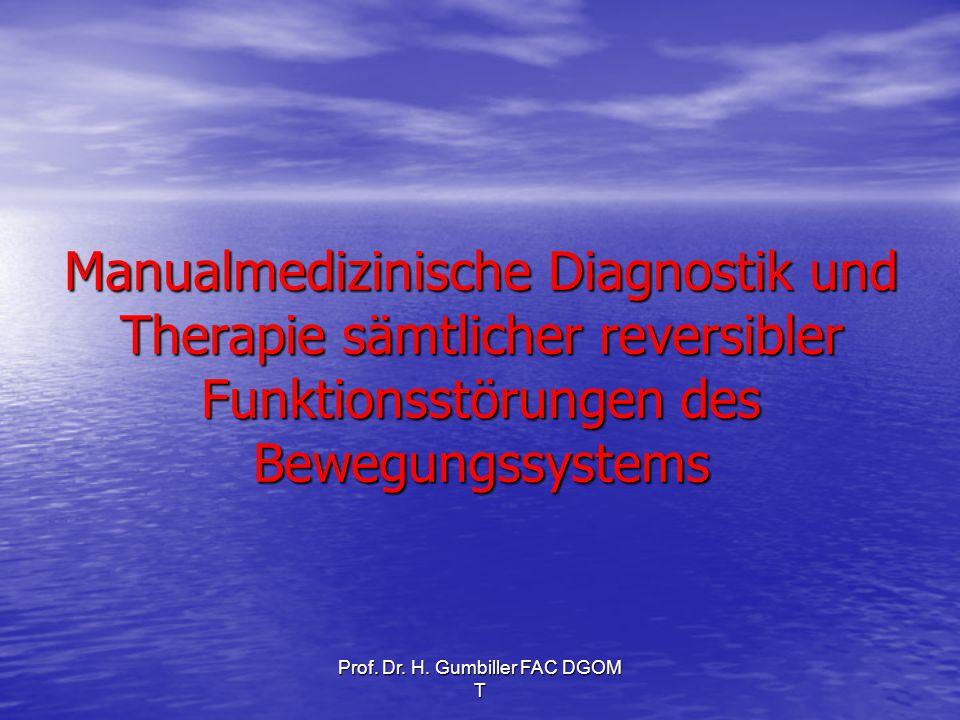 Prof. Dr. H. Gumbiller FAC DGOM T Manualmedizinische Diagnostik und Therapie sämtlicher reversibler Funktionsstörungen des Bewegungssystems