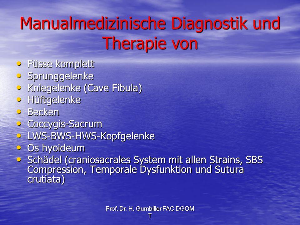 Prof. Dr. H. Gumbiller FAC DGOM T Manualmedizinische Diagnostik und Therapie von Füsse komplett Füsse komplett Sprunggelenke Sprunggelenke Kniegelenke