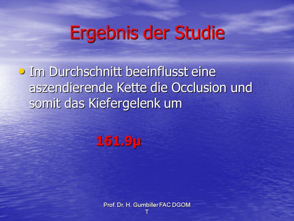 Prof. Dr. H. Gumbiller FAC DGOM T Ergebnis der Studie Im Durchschnitt beeinflusst eine aszendierende Kette die Occlusion und somit das Kiefergelenk um