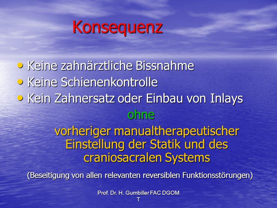 Prof. Dr. H. Gumbiller FAC DGOM T Konsequenz Keine zahnärztliche Bissnahme Keine zahnärztliche Bissnahme Keine Schienenkontrolle Keine Schienenkontrol