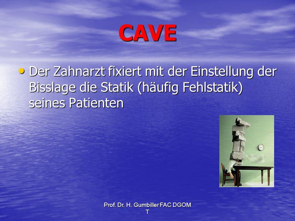 Prof. Dr. H. Gumbiller FAC DGOM T CAVE Der Zahnarzt fixiert mit der Einstellung der Bisslage die Statik (häufig Fehlstatik) seines Patienten Der Zahna