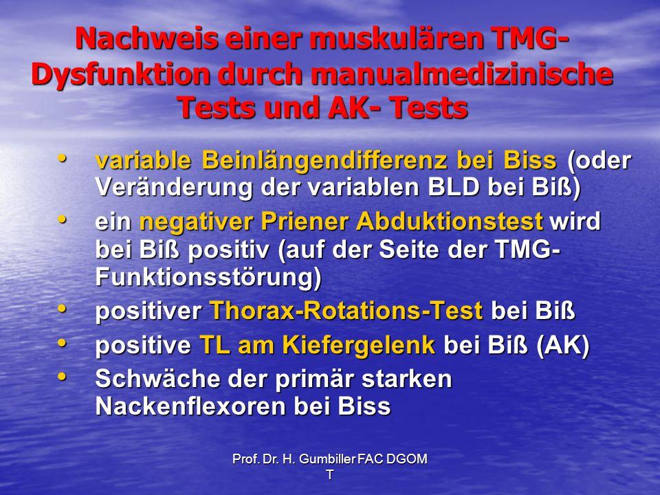 Prof. Dr. H. Gumbiller FAC DGOM T Nachweis einer muskulären TMG- Dysfunktion durch manualmedizinische Tests und AK- Tests variable Beinlängendifferenz