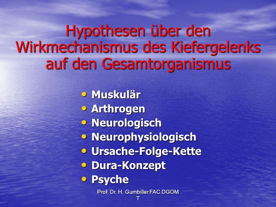 Prof. Dr. H. Gumbiller FAC DGOM T Hypothesen über den Wirkmechanismus des Kiefergelenks auf den Gesamtorganismus Muskulär Muskulär Arthrogen Arthrogen