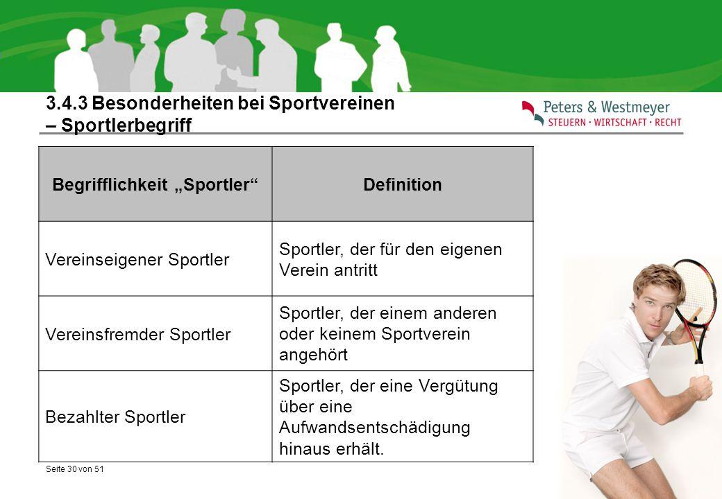 """Seite 30 von 51 3.4.3 Besonderheiten bei Sportvereinen – Sportlerbegriff Begrifflichkeit """"Sportler""""Definition Vereinseigener Sportler Sportler, der fü"""