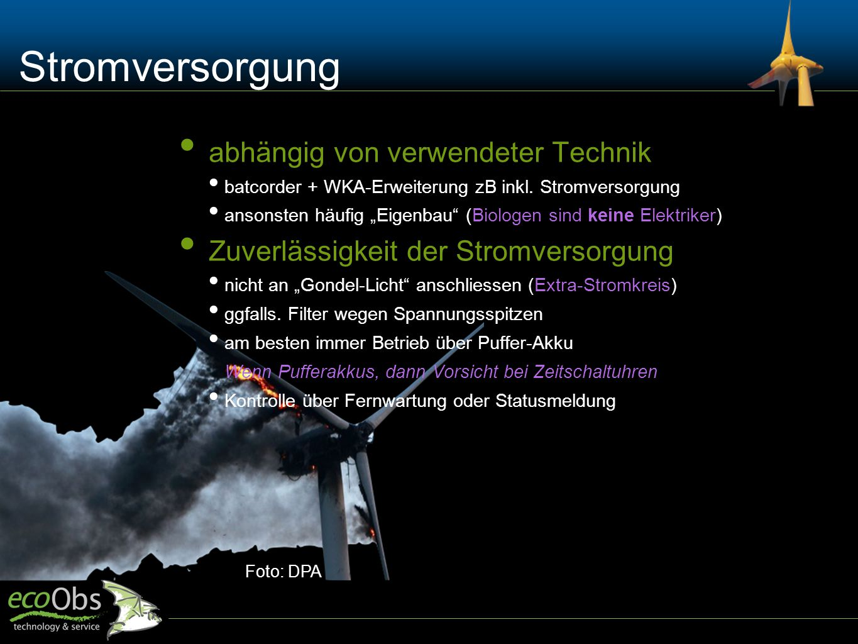 """Foto: DPA Stromversorgung abhängig von verwendeter Technik batcorder + WKA-Erweiterung zB inkl. Stromversorgung ansonsten häufig """"Eigenbau"""" (Biologen"""