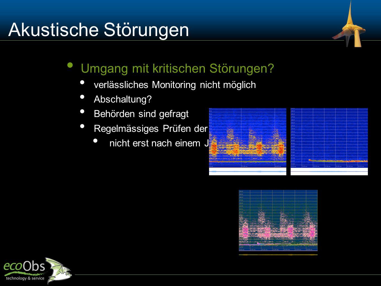 Akustische Störungen Umgang mit kritischen Störungen? verlässliches Monitoring nicht möglich Abschaltung? Behörden sind gefragt Regelmässiges Prüfen d