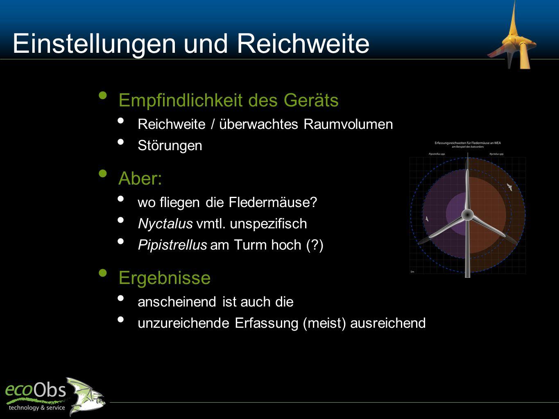 Einstellungen und Reichweite Empfindlichkeit des Geräts Reichweite / überwachtes Raumvolumen Störungen Aber: wo fliegen die Fledermäuse? Nyctalus vmtl