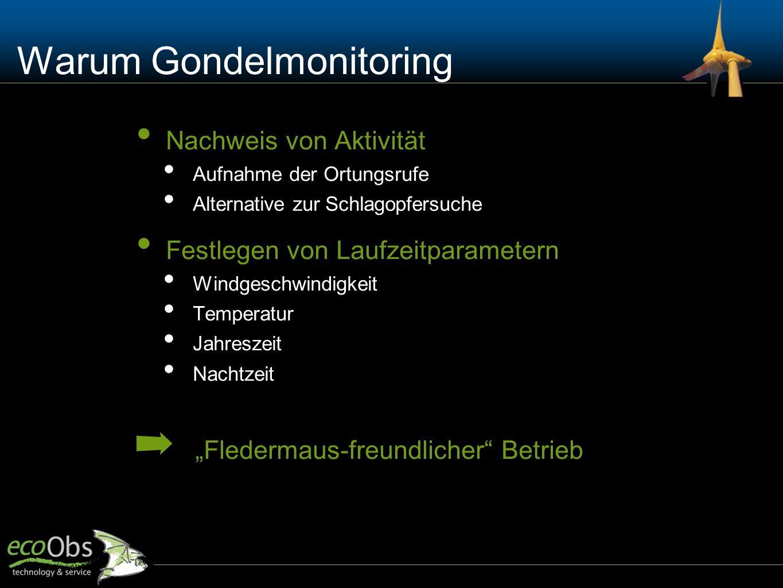 Wie Gondelmonitoring Anbringung eines Detektors in oder an der Gondel automatische Aufzeichnung von Rufen Von März (April) bis Oktober (November) eigentlich einfach … Foto L.