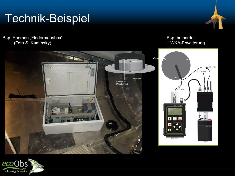 "Technik-Beispiel Bsp: Enercon ""Fledermausbox"" (Foto S. Kaminsky) Bsp: batcorder + WKA-Erweiterung"