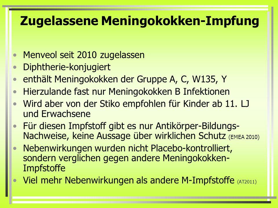 Zugelassene Meningokokken-Impfung Menveol seit 2010 zugelassen Diphtherie-konjugiert enthält Meningokokken der Gruppe A, C, W135, Y Hierzulande fast nur Meningokokken B Infektionen Wird aber von der Stiko empfohlen für Kinder ab 11.