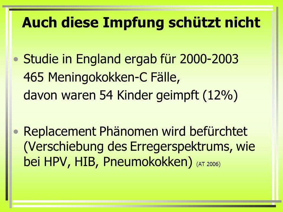 Auch diese Impfung schützt nicht Studie in England ergab für 2000-2003 465 Meningokokken-C Fälle, davon waren 54 Kinder geimpft (12%) Replacement Phänomen wird befürchtet (Verschiebung des Erregerspektrums, wie bei HPV, HIB, Pneumokokken) (AT 2006)