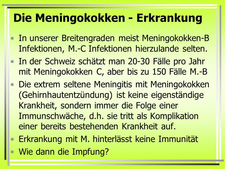 Die Meningokokken - Erkrankung In unserer Breitengraden meist Meningokokken-B Infektionen, M.-C Infektionen hierzulande selten.