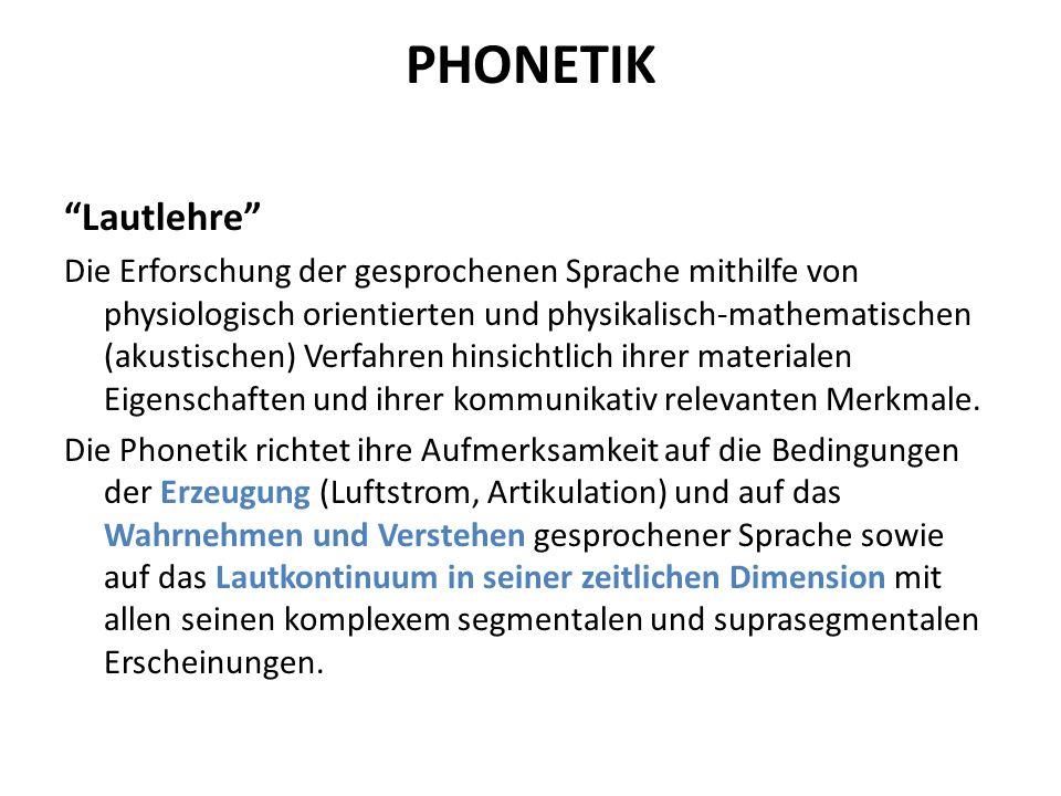 Phonetik Unterschieden wird zwischen: a)artikulatorischer Phonetik Sie beschreibt die Lautproduktion, Ort und Art der Lautbildung.