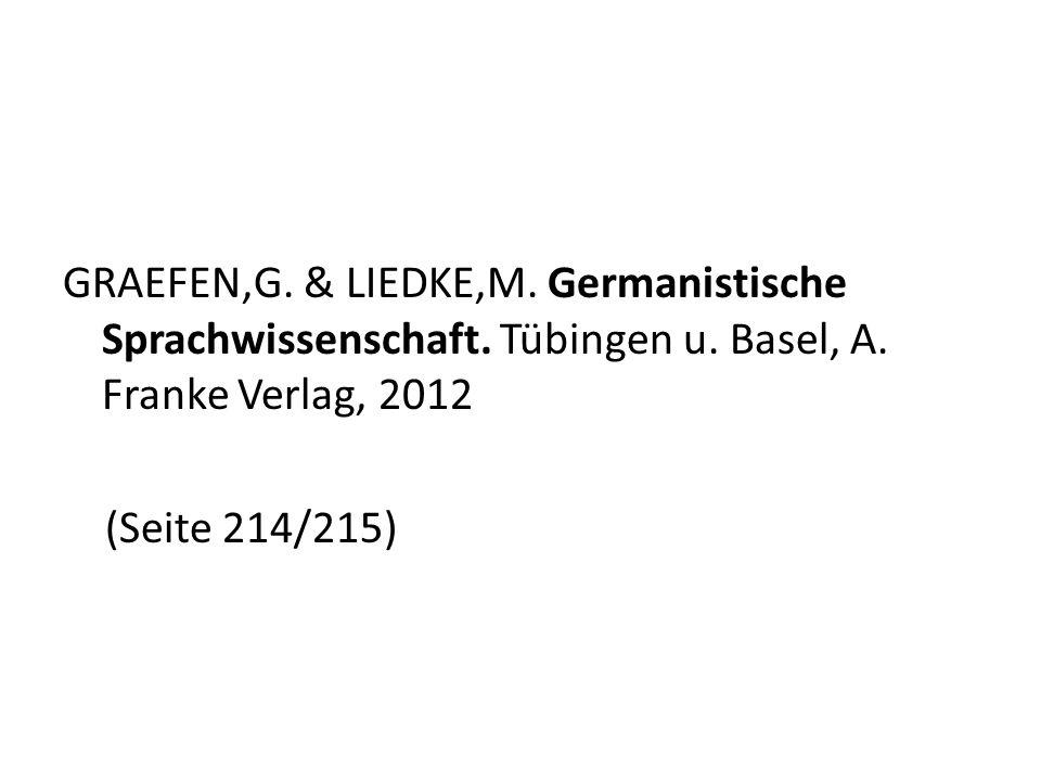 GRAEFEN,G. & LIEDKE,M. Germanistische Sprachwissenschaft. Tübingen u. Basel, A. Franke Verlag, 2012 (Seite 214/215)