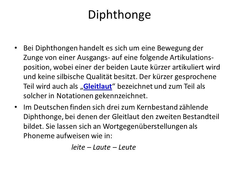 Diphthonge Bei Diphthongen handelt es sich um eine Bewegung der Zunge von einer Ausgangs- auf eine folgende Artikulations- position, wobei einer der b