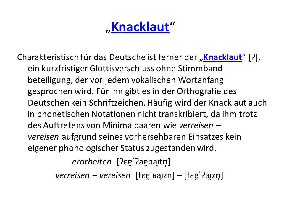 """""""Knacklaut"""" Knacklaut Charakteristisch für das Deutsche ist ferner der """"Knacklaut"""" [Ɂ], ein kurzfristiger Glottisverschluss ohne Stimmband- beteiligun"""