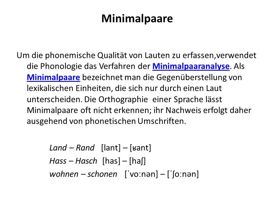 Minimalpaare Um die phonemische Qualität von Lauten zu erfassen,verwendet die Phonologie das Verfahren der Minimalpaaranalyse. Als Minimalpaare bezeic