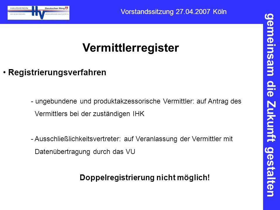 gemeinsam die Zukunft gestalten Vorstandssitzung 27.04.2007 Köln Vermittlerregister Registrierungsverfahren - ungebundene und produktakzessorische Ver