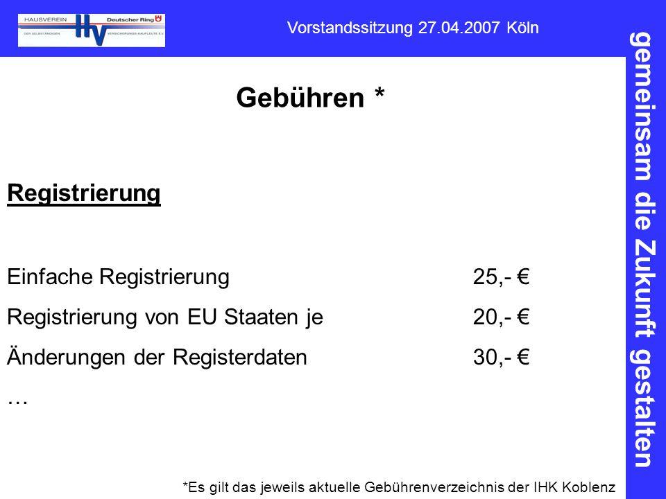 gemeinsam die Zukunft gestalten Vorstandssitzung 27.04.2007 Köln Gebühren * Registrierung Einfache Registrierung25,- € Registrierung von EU Staaten je