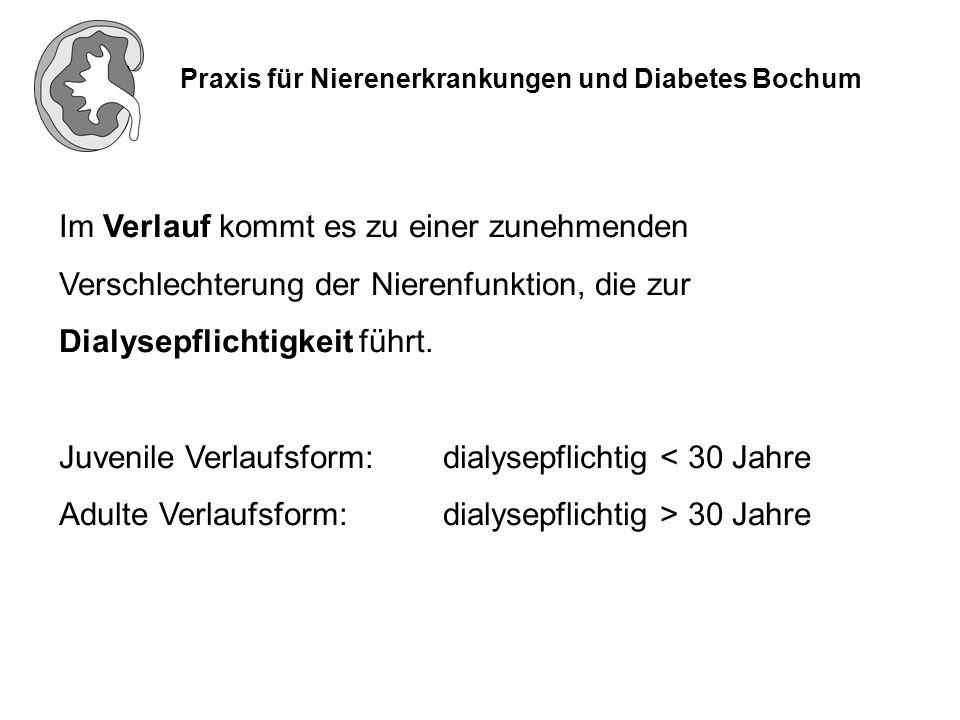 Praxis für Nierenerkrankungen und Diabetes Bochum Im Verlauf kommt es zu einer zunehmenden Verschlechterung der Nierenfunktion, die zur Dialysepflicht