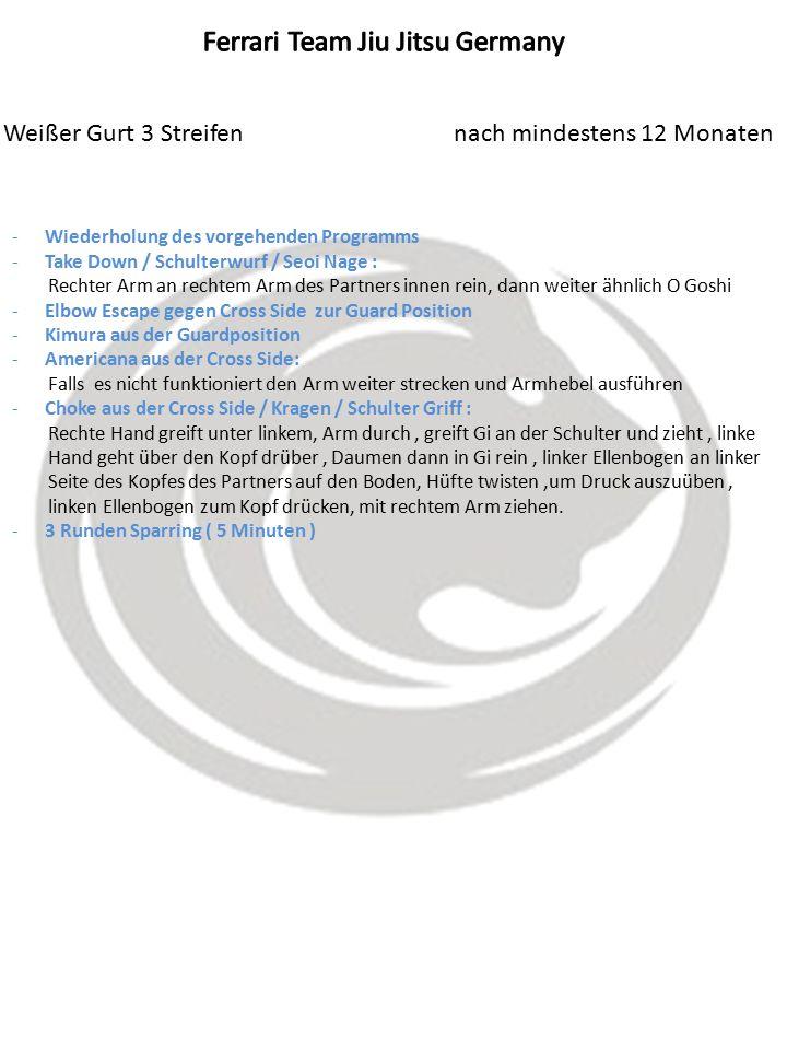 Weißer Gurt 3 Streifen nach mindestens 12 Monaten -Wiederholung des vorgehenden Programms -Take Down / Schulterwurf / Seoi Nage : Rechter Arm an rechtem Arm des Partners innen rein, dann weiter ähnlich O Goshi -Elbow Escape gegen Cross Side zur Guard Position -Kimura aus der Guardposition -Americana aus der Cross Side: Falls es nicht funktioniert den Arm weiter strecken und Armhebel ausführen -Choke aus der Cross Side / Kragen / Schulter Griff : Rechte Hand greift unter linkem, Arm durch, greift Gi an der Schulter und zieht, linke Hand geht über den Kopf drüber, Daumen dann in Gi rein, linker Ellenbogen an linker Seite des Kopfes des Partners auf den Boden, Hüfte twisten,um Druck auszuüben, linken Ellenbogen zum Kopf drücken, mit rechtem Arm ziehen.