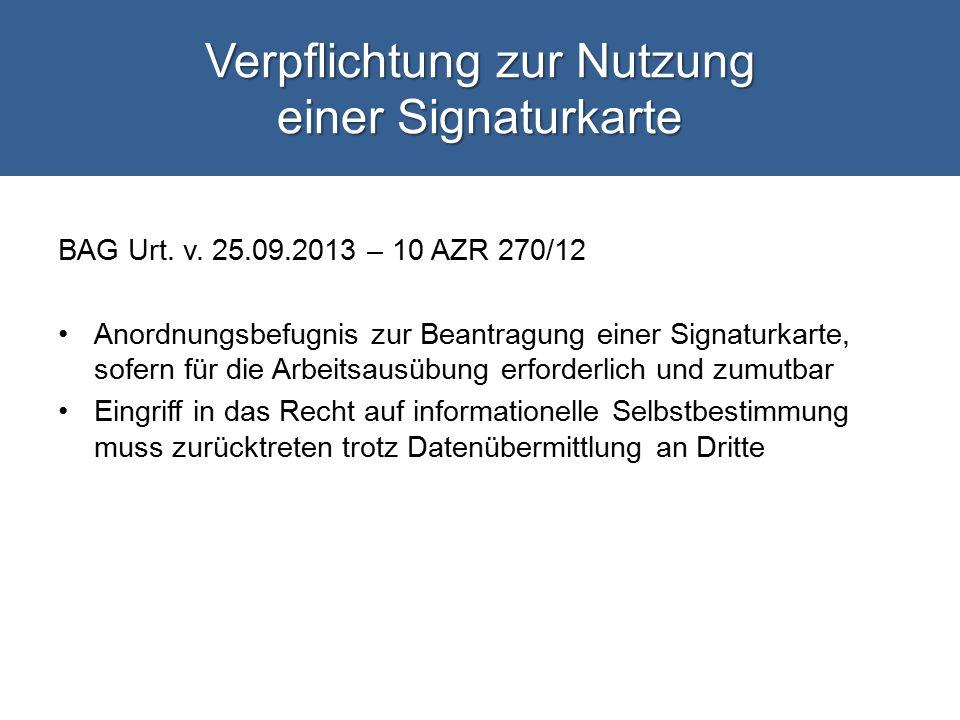 Verpflichtung zur Nutzung einer Signaturkarte BAG Urt.