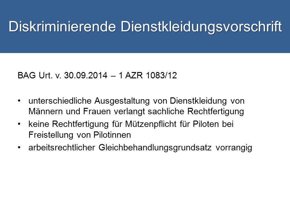 Diskriminierende Dienstkleidungsvorschrift BAG Urt.