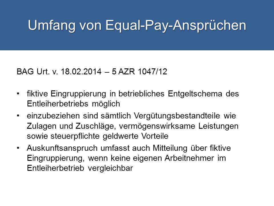 Umfang von Equal-Pay-Ansprüchen BAG Urt.v.