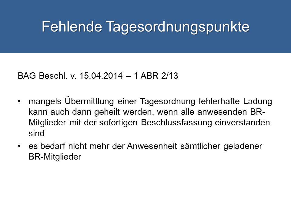 Fehlende Tagesordnungspunkte BAG Beschl.v.