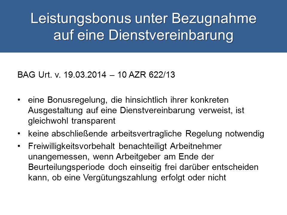 Leistungsbonus unter Bezugnahme auf eine Dienstvereinbarung BAG Urt.