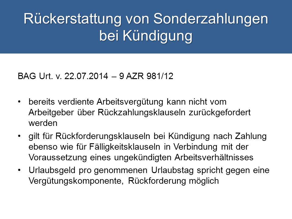 Rückerstattung von Sonderzahlungen bei Kündigung BAG Urt.
