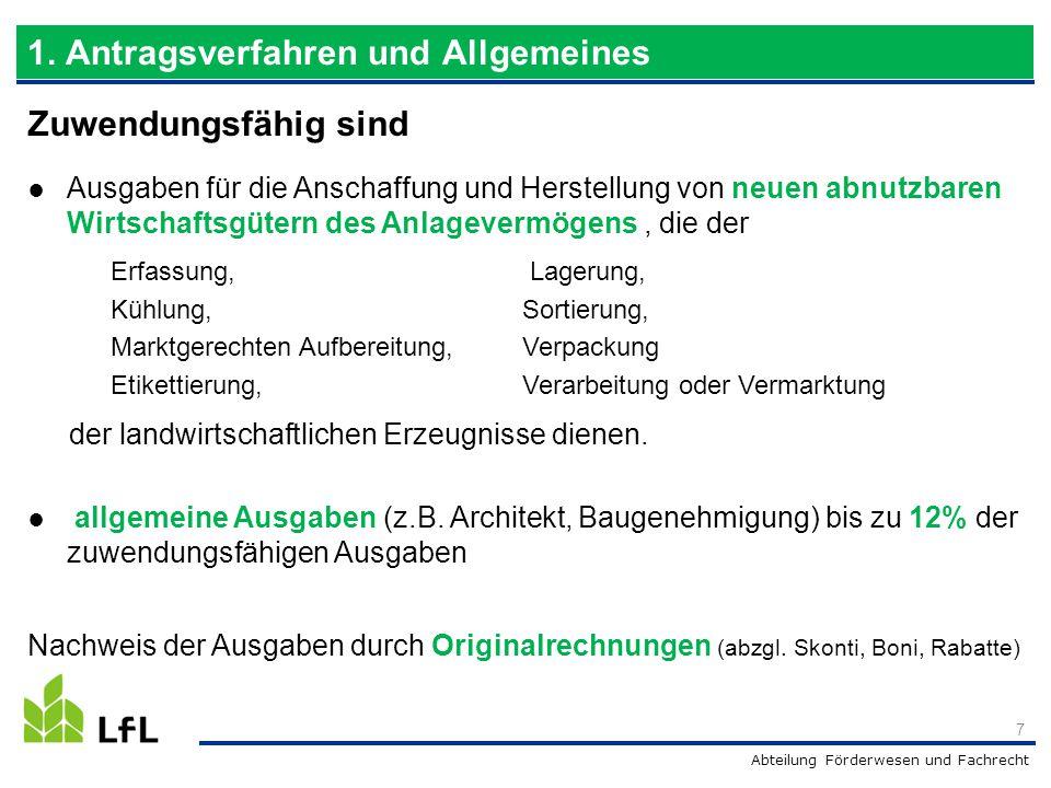 Abteilung Förderwesen und Fachrecht Unternehmensklasse 18 2.