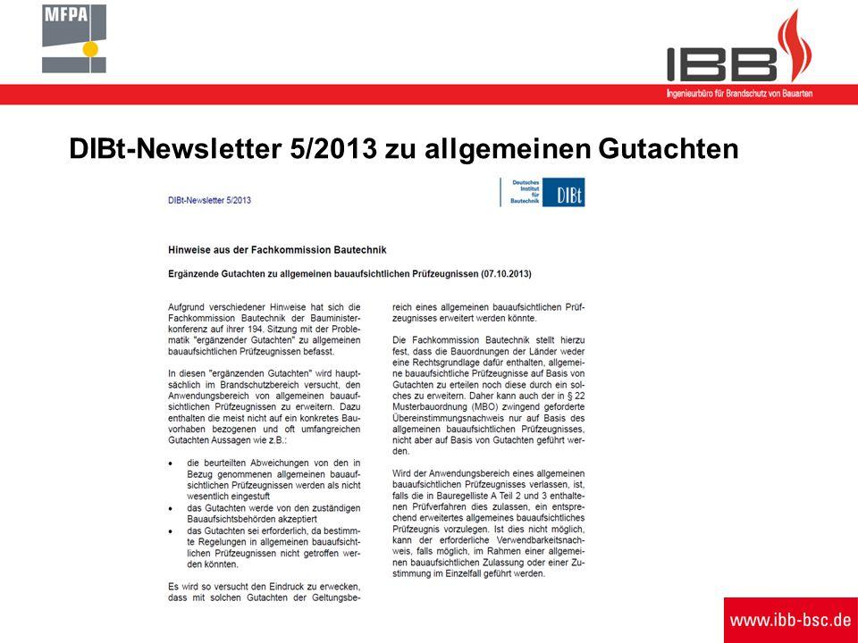 DIBt-Newsletter 5/2013 zu allgemeinen Gutachten