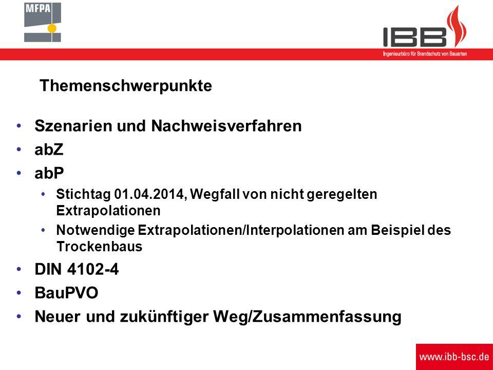 Themenschwerpunkte Szenarien und Nachweisverfahren abZ abP Stichtag 01.04.2014, Wegfall von nicht geregelten Extrapolationen Notwendige Extrapolatione