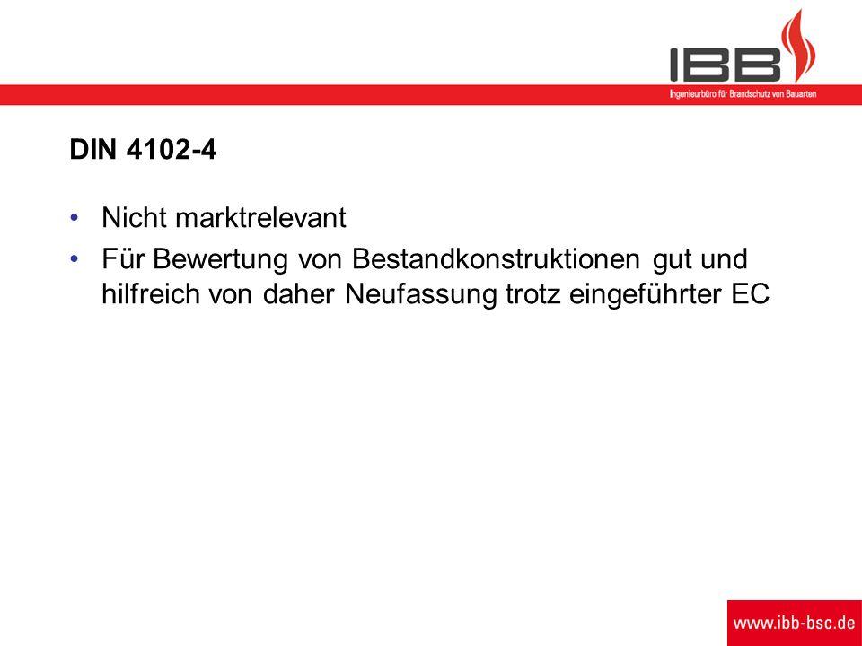DIN 4102-4 Nicht marktrelevant Für Bewertung von Bestandkonstruktionen gut und hilfreich von daher Neufassung trotz eingeführter EC