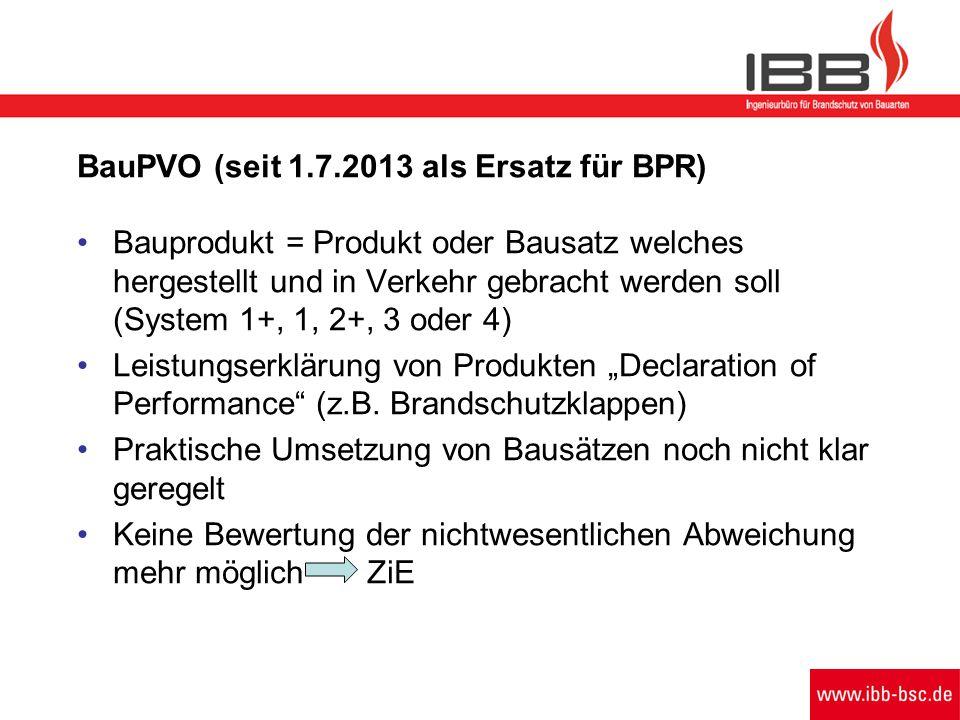 BauPVO (seit 1.7.2013 als Ersatz für BPR) Bauprodukt = Produkt oder Bausatz welches hergestellt und in Verkehr gebracht werden soll (System 1+, 1, 2+,