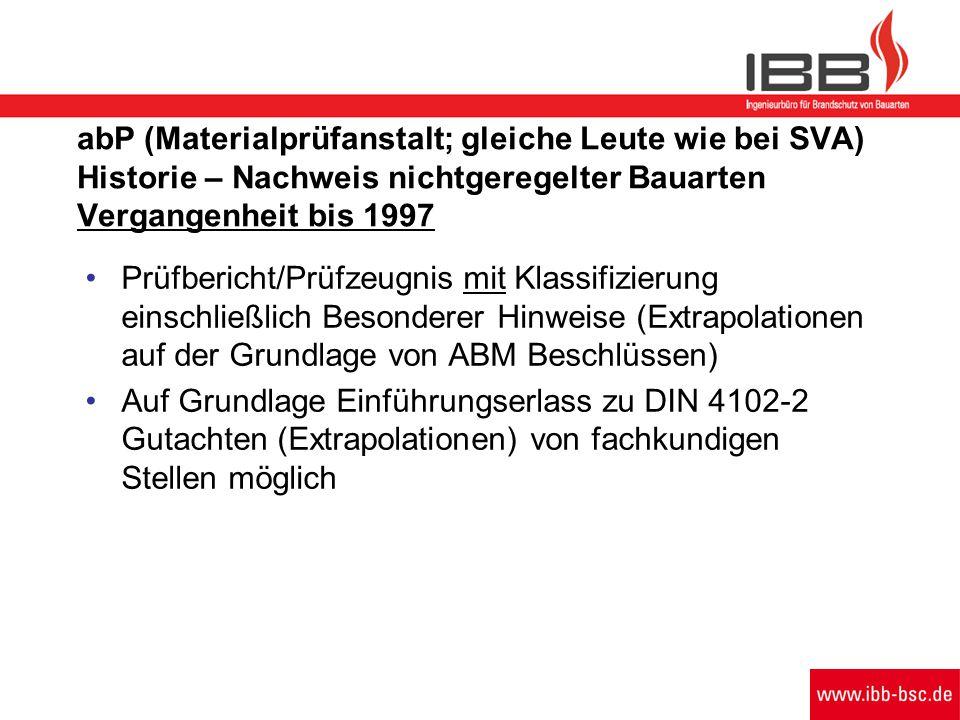 abP (Materialprüfanstalt; gleiche Leute wie bei SVA) Historie – Nachweis nichtgeregelter Bauarten Vergangenheit bis 1997 Prüfbericht/Prüfzeugnis mit K