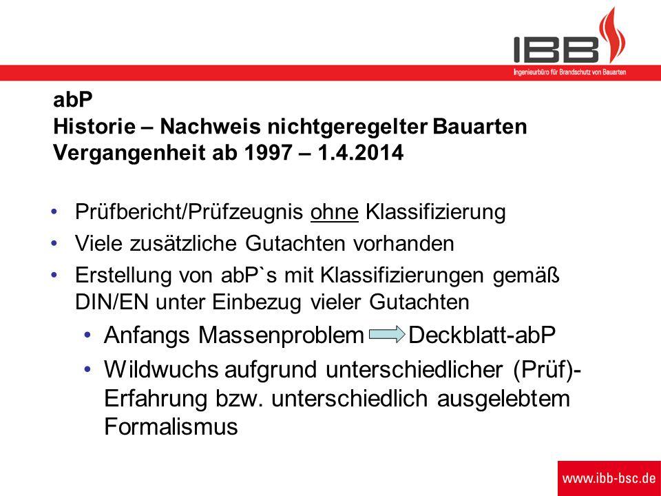 abP Historie – Nachweis nichtgeregelter Bauarten Vergangenheit ab 1997 – 1.4.2014 Prüfbericht/Prüfzeugnis ohne Klassifizierung Viele zusätzliche Gutac