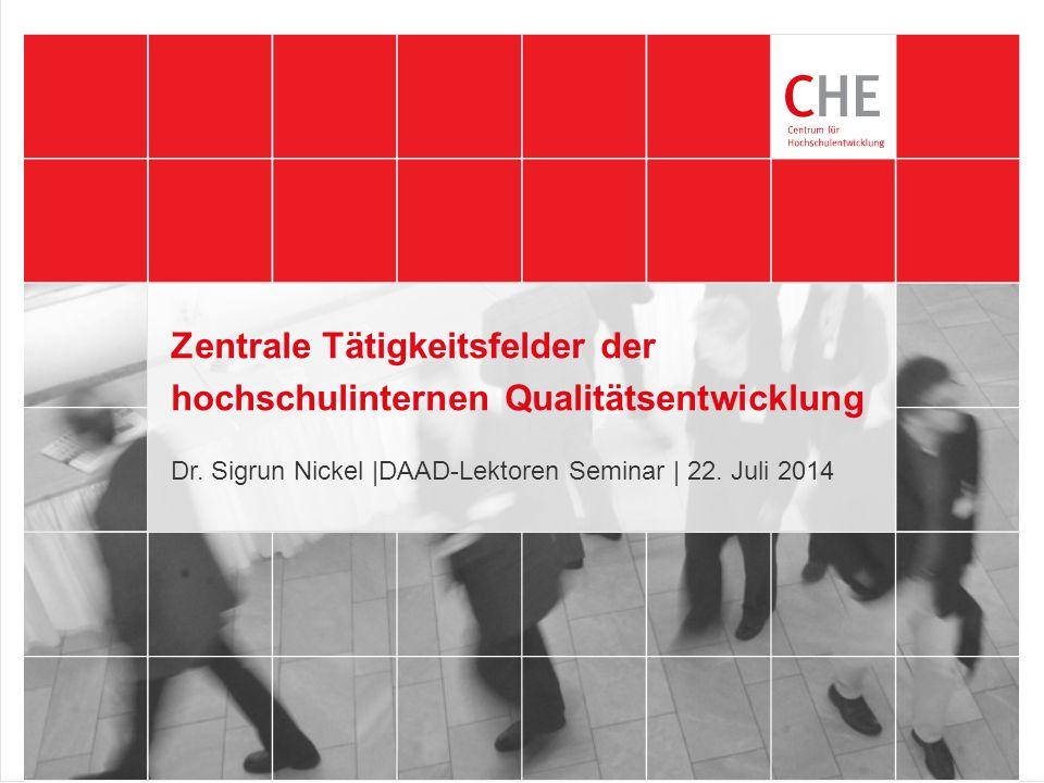 Zentrale Tätigkeitsfelder der hochschulinternen Qualitätsentwicklung Dr. Sigrun Nickel |DAAD-Lektoren Seminar | 22. Juli 2014